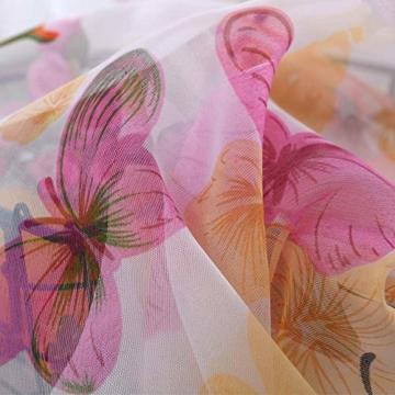 Litthing Vorhang Blumen Gardine Frühlings Blumenmuster Transparenter Stickerei für Wohnzimmer Schlafzimmer Studierzimmer (Schmetterling) - 5