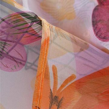 Litthing Vorhang Blumen Gardine Frühlings Blumenmuster Transparenter Stickerei für Wohnzimmer Schlafzimmer Studierzimmer (Schmetterling) - 6