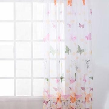 Litthing Vorhang Blumen Gardine Frühlings Blumenmuster Transparenter Stickerei für Wohnzimmer Schlafzimmer Studierzimmer (Schmetterling) - 7