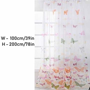 Litthing Vorhang Blumen Gardine Frühlings Blumenmuster Transparenter Stickerei für Wohnzimmer Schlafzimmer Studierzimmer (Schmetterling) - 8