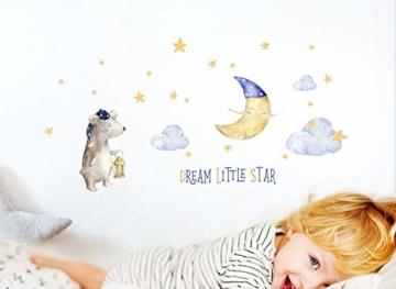 Little Deco Aufkleber Bär & Spruch Dream Little Star I S - 105 x 53 cm (BxH) I Mond und Sterne Wandbilder Wandtattoo Kinderzimmer Tiere Deko Babyzimmer Junge DL196 - 2