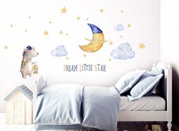 Little Deco Aufkleber Bär & Spruch Dream Little Star I S - 105 x 53 cm (BxH) I Mond und Sterne Wandbilder Wandtattoo Kinderzimmer Tiere Deko Babyzimmer Junge DL196 - 3
