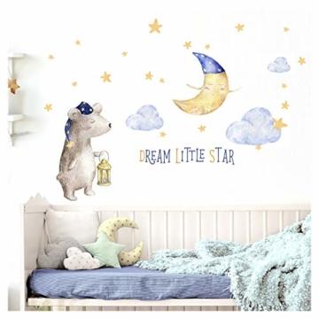 Little Deco Aufkleber Bär & Spruch Dream Little Star I S - 105 x 53 cm (BxH) I Mond und Sterne Wandbilder Wandtattoo Kinderzimmer Tiere Deko Babyzimmer Junge DL196 - 1