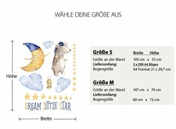Little Deco Aufkleber Bär & Spruch Dream Little Star I S - 105 x 53 cm (BxH) I Mond und Sterne Wandbilder Wandtattoo Kinderzimmer Tiere Deko Babyzimmer Junge DL196 - 5