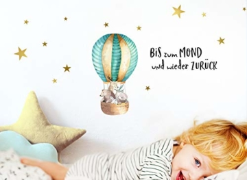 Little Deco Aufkleber Waldtiere im Heißluftballon & Spruch Bis zum Mond I S - 62 x 32 cm (BxH) I Wandbilder Wandtattoo Kinderzimmer Tiere Deko Babyzimmer Junge DL186 - 2