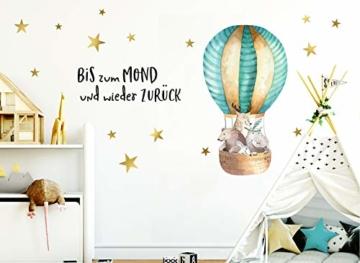 Little Deco Aufkleber Waldtiere im Heißluftballon & Spruch Bis zum Mond I S - 62 x 32 cm (BxH) I Wandbilder Wandtattoo Kinderzimmer Tiere Deko Babyzimmer Junge DL186 - 3
