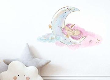 Little Deco Bild Einhorn I Mond & Sterne I A4-21 x 29,7 cm I Baby Wandbilder Kinderzimmer Wandtattoo Babyzimmer Deko Mädchenzimmer Wandsticker Kinder DL167 - 2