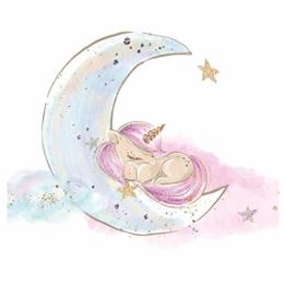 Little Deco Bild Einhorn I Mond & Sterne I A4-21 x 29,7 cm I Baby Wandbilder Kinderzimmer Wandtattoo Babyzimmer Deko Mädchenzimmer Wandsticker Kinder DL167 - 1