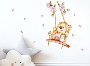 Little Deco Wandaufkleber Bär auf Schaukel I A4-21 x 29,7 cm I Wandbilder Kinderzimmer Babyzimmer Deko Aufkleber Sticker Mädchenzimmer Wandsticker Kinder DL166 - 2