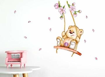 Little Deco Wandaufkleber Bär auf Schaukel I A4-21 x 29,7 cm I Wandbilder Kinderzimmer Babyzimmer Deko Aufkleber Sticker Mädchenzimmer Wandsticker Kinder DL166 - 3