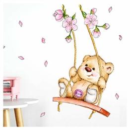 Little Deco Wandaufkleber Bär auf Schaukel I A4-21 x 29,7 cm I Wandbilder Kinderzimmer Babyzimmer Deko Aufkleber Sticker Mädchenzimmer Wandsticker Kinder DL166 - 1