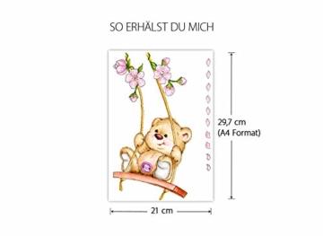 Little Deco Wandaufkleber Bär auf Schaukel I A4-21 x 29,7 cm I Wandbilder Kinderzimmer Babyzimmer Deko Aufkleber Sticker Mädchenzimmer Wandsticker Kinder DL166 - 5