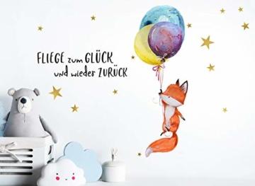 Little Deco Wandtattoo Fuchs & Spruch Fliege zum Glück I A4-21 x 29,7 cm I Luftballons Wandbilder Kinderzimmer Deko Babyzimmer Junge Wandsticker Kinder DL163 - 2
