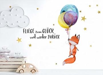 Little Deco Wandtattoo Fuchs & Spruch Fliege zum Glück I A4-21 x 29,7 cm I Luftballons Wandbilder Kinderzimmer Deko Babyzimmer Junge Wandsticker Kinder DL163 - 3