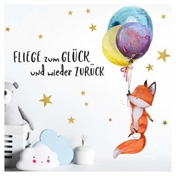 Little Deco Wandtattoo Fuchs & Spruch Fliege zum Glück I A4-21 x 29,7 cm I Luftballons Wandbilder Kinderzimmer Deko Babyzimmer Junge Wandsticker Kinder DL163 - 1