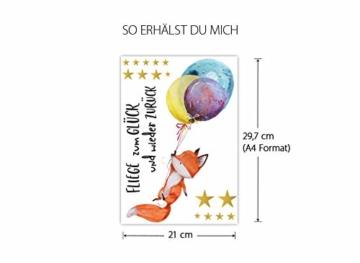 Little Deco Wandtattoo Fuchs & Spruch Fliege zum Glück I A4-21 x 29,7 cm I Luftballons Wandbilder Kinderzimmer Deko Babyzimmer Junge Wandsticker Kinder DL163 - 5