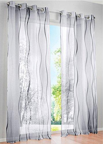 LiYa 1 Stück Gardinen mit Wellen Muster Design Schals Voile Transparent Fenster Vorhang (BxH 140x145cm, Grau mit Ösen) - 2