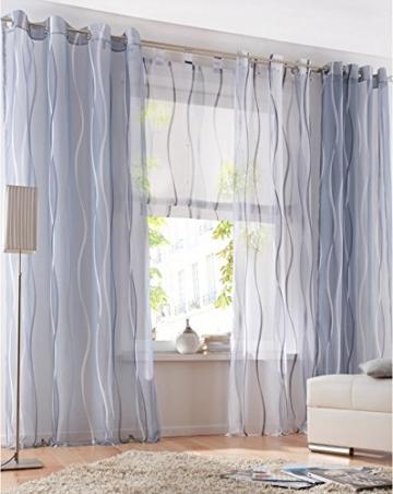 LiYa 1 Stück Gardinen mit Wellen Muster Design Schals Voile Transparent Fenster Vorhang (BxH 140x145cm, Grau mit Ösen) - 3