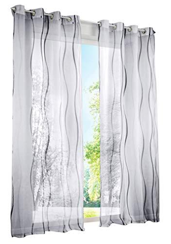 LiYa 1 Stück Gardinen mit Wellen Muster Design Schals Voile Transparent Fenster Vorhang (BxH 140x145cm, Grau mit Ösen) - 1