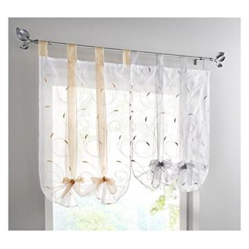 LiYa Raffrollo mit Stickerei Band Raffgardinen Voile Transparent Schlaufen Vorhang (BxH 100x140cm, Beere) - 2