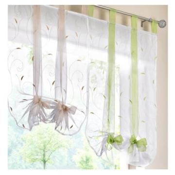 LiYa Raffrollo mit Stickerei Band Raffgardinen Voile Transparent Schlaufen Vorhang (BxH 100x140cm, Beere) - 3