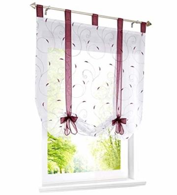 LiYa Raffrollo mit Stickerei Band Raffgardinen Voile Transparent Schlaufen Vorhang (BxH 100x140cm, Beere) - 1