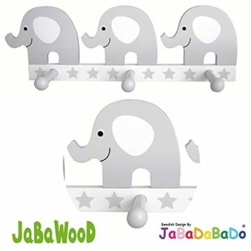 LS-LebenStil Holz Kinder-Garderobe 3 Haken Elefant Grau Weiss 25x9x6cm Wandgarderobe JaBaDaBaDo - 3