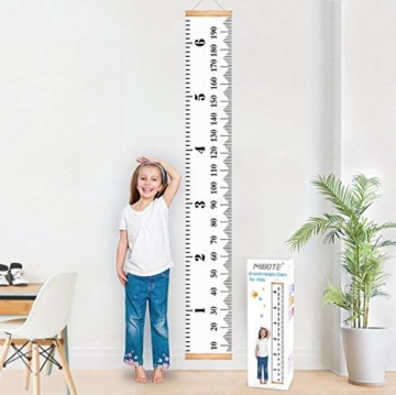 Mibote Messlatte für Kinder Wand Höhe Diagramm Leinwand Kinderzimmer Hängende Wachstumskarte Wachstumsmesser Messleiste in Weiß 20cm x 200cm - 1