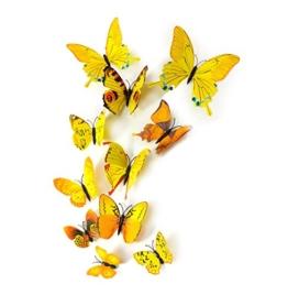 MissBirdler 24 Stk. Gelbe Schmetterlinge 3D Effekt Kühlschrank Schmetterling Magnet mit Klebepunkten Wandtattoo Wand Aufkleber Dekoration Einrichtung Wohnzimmer Schlafzimmer Küche Kinderzimmer Deko Wandsticker Wandaufkleber - 1