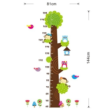 Missley bnehmbares wiederverwandbares Körpergröße Wandbild in Tier Stil Serie Cartoon Animal Wallsticker Wandtattoo für Kinder Messlatte Messen Aufkleber (Affe Eule und Grün Baum) - 2