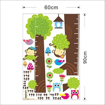 Missley bnehmbares wiederverwandbares Körpergröße Wandbild in Tier Stil Serie Cartoon Animal Wallsticker Wandtattoo für Kinder Messlatte Messen Aufkleber (Affe Eule und Grün Baum) - 3