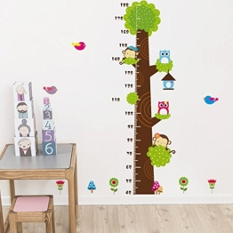 Missley bnehmbares wiederverwandbares Körpergröße Wandbild in Tier Stil Serie Cartoon Animal Wallsticker Wandtattoo für Kinder Messlatte Messen Aufkleber (Affe Eule und Grün Baum) - 1