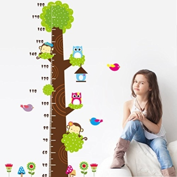 Missley bnehmbares wiederverwandbares Körpergröße Wandbild in Tier Stil Serie Cartoon Animal Wallsticker Wandtattoo für Kinder Messlatte Messen Aufkleber (Affe Eule und Grün Baum) - 4