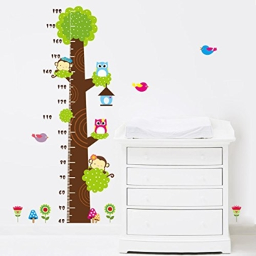 Missley bnehmbares wiederverwandbares Körpergröße Wandbild in Tier Stil Serie Cartoon Animal Wallsticker Wandtattoo für Kinder Messlatte Messen Aufkleber (Affe Eule und Grün Baum) - 5