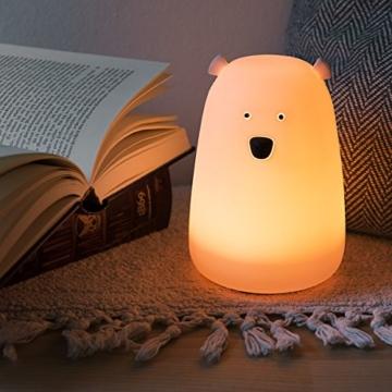 Navaris LED Nachtlicht Bär Design - Micro USB Kabel - Süße RGB Farbwechsel Nachttischlampe für Kinder - Bärchen Kinderzimmer Schlummerlicht Rosa - 2
