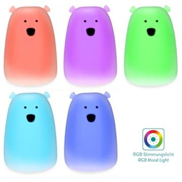 Navaris LED Nachtlicht Bär Design - Micro USB Kabel - Süße RGB Farbwechsel Nachttischlampe für Kinder - Bärchen Kinderzimmer Schlummerlicht Rosa - 5