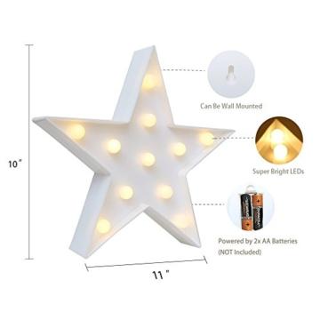 REKYO Laufschrift LED Nachtlicht, niedlichen LED-Lampen an Wand, Raum dekoratives Licht, Tisch Lampe Stimmung Beleuchtung Lampe Kinder Zimmer Weihnachten Deko (Sterne) - 3