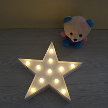 REKYO Laufschrift LED Nachtlicht, niedlichen LED-Lampen an Wand, Raum dekoratives Licht, Tisch Lampe Stimmung Beleuchtung Lampe Kinder Zimmer Weihnachten Deko (Sterne) - 4