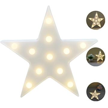 REKYO Laufschrift LED Nachtlicht, niedlichen LED-Lampen an Wand, Raum dekoratives Licht, Tisch Lampe Stimmung Beleuchtung Lampe Kinder Zimmer Weihnachten Deko (Sterne) - 1
