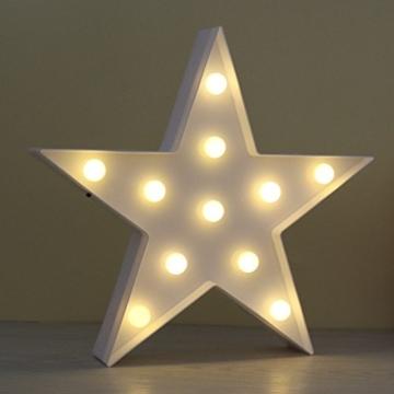 REKYO Laufschrift LED Nachtlicht, niedlichen LED-Lampen an Wand, Raum dekoratives Licht, Tisch Lampe Stimmung Beleuchtung Lampe Kinder Zimmer Weihnachten Deko (Sterne) - 5