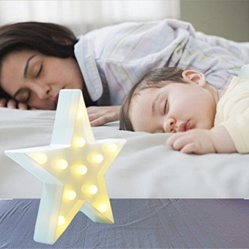 REKYO Laufschrift LED Nachtlicht, niedlichen LED-Lampen an Wand, Raum dekoratives Licht, Tisch Lampe Stimmung Beleuchtung Lampe Kinder Zimmer Weihnachten Deko (Sterne) - 6