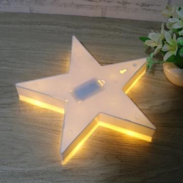REKYO Laufschrift LED Nachtlicht, niedlichen LED-Lampen an Wand, Raum dekoratives Licht, Tisch Lampe Stimmung Beleuchtung Lampe Kinder Zimmer Weihnachten Deko (Sterne) - 7