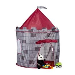 Relaxdays Spielzelt Ritterburg, Kinderzelt Jungen, Ritterzelt für Kinder ab 3 Jahre, HxBxT: 125 x 105 x 105 cm, grau - 1