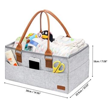 Ropch Baby Windel Caddy Organizer, Multifunktionale Filz Windeltasche Aufbewahrungskorb Windel-Aufbewahrungsbox mit Veränderbar Fächern - Grau und Braun - 2
