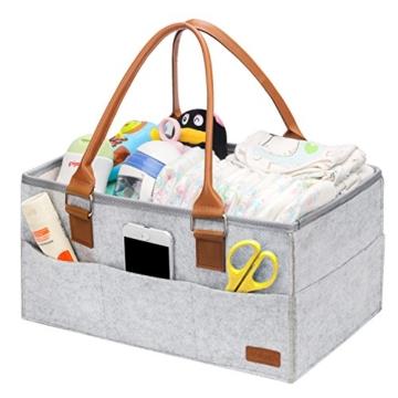 Ropch Baby Windel Caddy Organizer, Multifunktionale Filz Windeltasche Aufbewahrungskorb Windel-Aufbewahrungsbox mit Veränderbar Fächern - Grau und Braun - 1