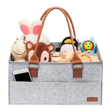 Ropch Baby Windel Caddy Organizer, Multifunktionale Filz Windeltasche Aufbewahrungskorb Windel-Aufbewahrungsbox mit Veränderbar Fächern - Grau und Braun - 6