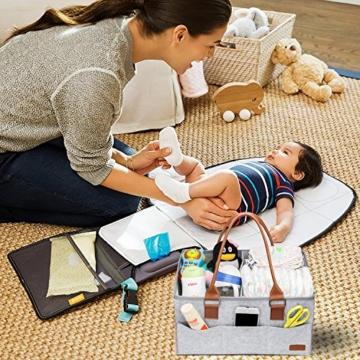 Ropch Baby Windel Caddy Organizer, Multifunktionale Filz Windeltasche Aufbewahrungskorb Windel-Aufbewahrungsbox mit Veränderbar Fächern - Grau und Braun - 7
