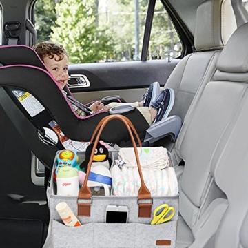 Ropch Baby Windel Caddy Organizer, Multifunktionale Filz Windeltasche Aufbewahrungskorb Windel-Aufbewahrungsbox mit Veränderbar Fächern - Grau und Braun - 8