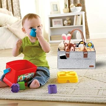 Ropch Baby Windel Caddy Organizer, Multifunktionale Filz Windeltasche Aufbewahrungskorb Windel-Aufbewahrungsbox mit Veränderbar Fächern - Grau und Braun - 9