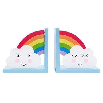 Sass & Belle Day Dreams Buchstützen aus Holz, Regenbogen- und Wolken-Motiv, 2-teiliges Set - 1